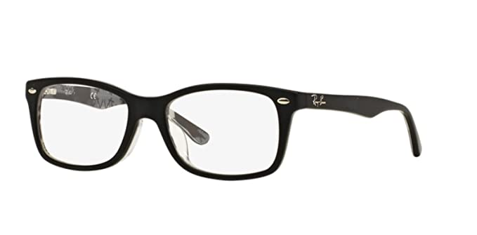 9ca4640c17a Amazon.com  Ray-Ban 0rx5228f No Polarization Square Prescription Eyewear  Frame Top Matte Black on Texture Camuflage 53 mm  Clothing
