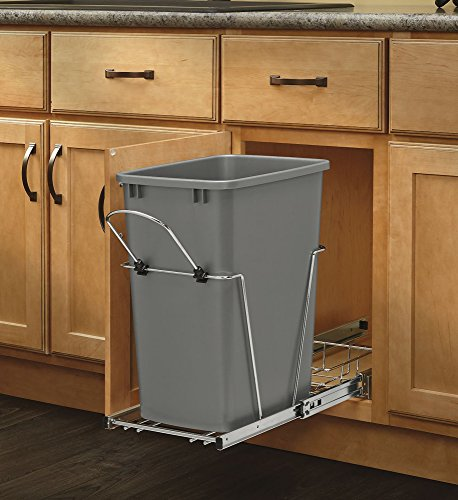 Rev-A-Shelf - RV-12KD-17C S - Single 35 Qt. Pull-Out Silver and Chrome Waste Container with Rear Basket