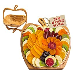 Delicious heart healthy dried fruits Gift Tray comes on an Apple-shaped Wooden Trivet Holds a variety of exotic mango slices, Mediterranean apricot, luscious California yellow peaches, mouth-watering pears, Washington State apple wedges, tangy kiwi s...