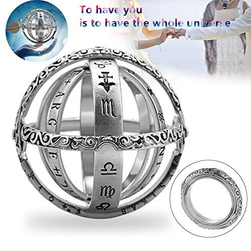 (Astronomical Ball Ring - 2019 New Astronomical Sphere Finger Foldable Ring Cosmic Sterling Silver Stainless Steel for Lover 8 Silver)