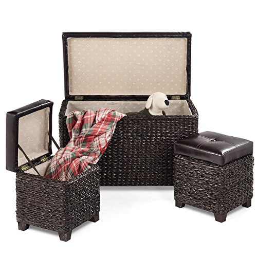 Piece 3 Leather Brown Dark (3 Piece Brown Rattan Wicker Storage Bench for Bedroom, Entryway with 2 Side Cube Ottomans Leather Padded Seat, Home Furniture)