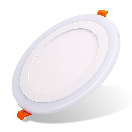 (2 Pack)Led Foco Empotrable Techo,Maigel 12+6W White+Blue Downlight Lámpara de techo Marco Redondo,de techo de iluminación incluye bombilla LED para ...