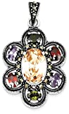 IceCarats 925 Sterling Silver Multicolor Cubic Zirconia Cz Marcasite Flower Necklace Pendant Charm