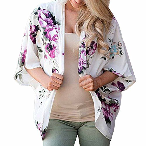 WEUIE Women Blouse Clearance Sale! Women Floral Cover Casual Blouse Tops Loose Kimono Cardigan Capes (L,White)