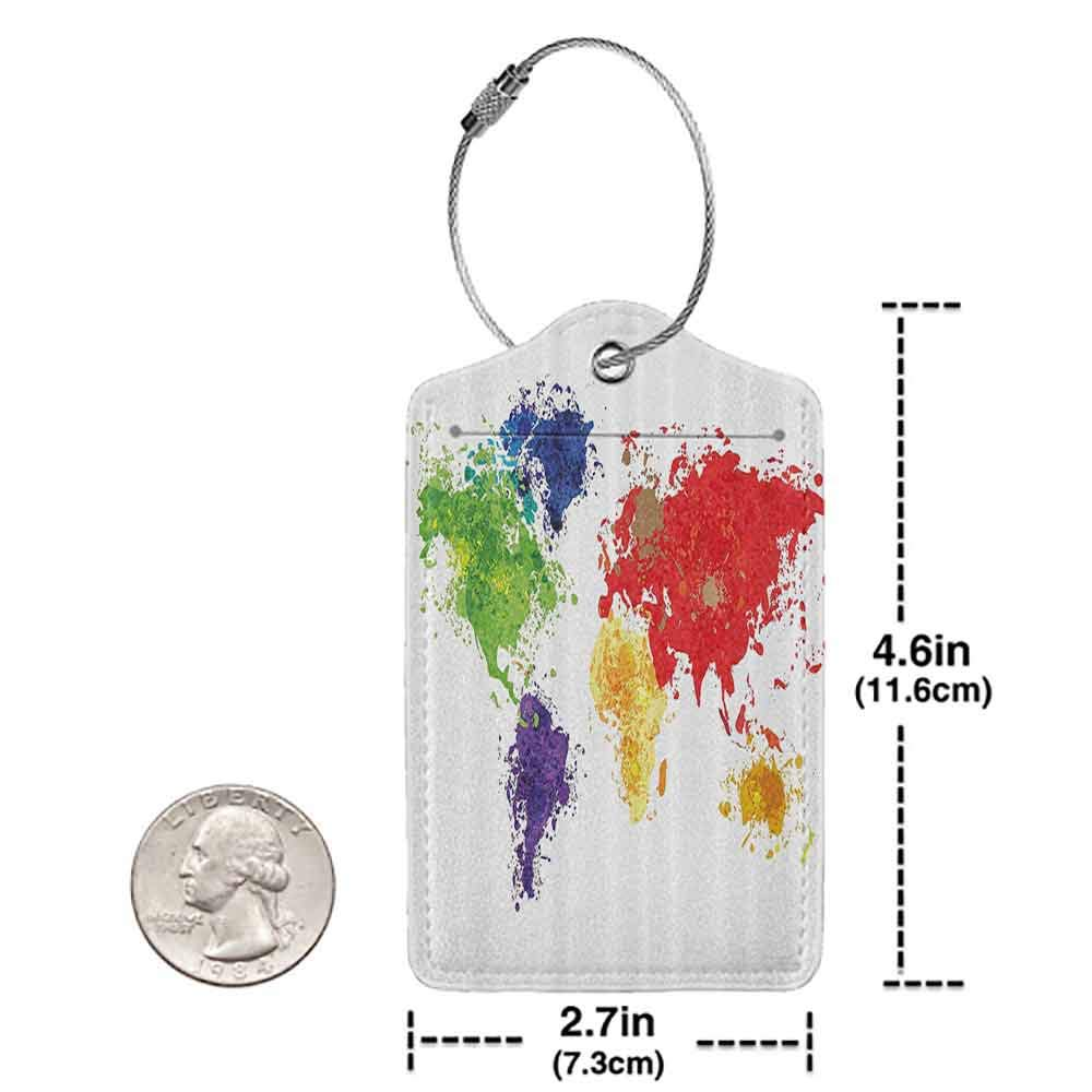 Durable luggage tag Map Decor Abstract Colorful World Map Illustration on White Background Print Unisex Red Purple and Yellow W2.7 x L4.6