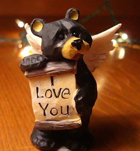 I Love You Wood-Carved Black Bear Angel Log Cabin Rustic Lodge Home Decor