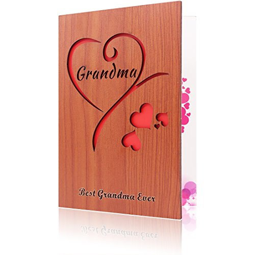 Handmade Wooden Grandma Greeting Card, the best gift for Grandma on birthday or mother's day (Best Greetings On Mother's Day)