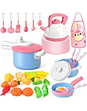 Balnore Kids Kitchen Pretend Play Toys, 21 Pcs Macaron Toy Kitchen Sets with Cooking Set Cookware Playset Pots and Pans Healthy Cutting Vegetables,Knife,Utensils,Learning Gift for Kids Toddlers