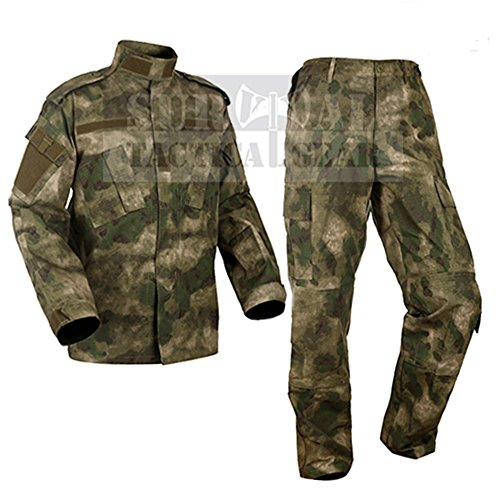 ZAPT Military Uniform Tactical Atacs A-tacs FG Camo PC Ripstop Shirt & Pants Army Combat Coat y Combat Coat (S, FG) ()