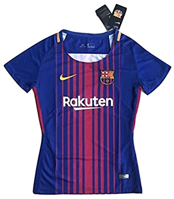 Women's FC Barcelona 2017-2018 Home Soccer Jersey Royal Blue/Red