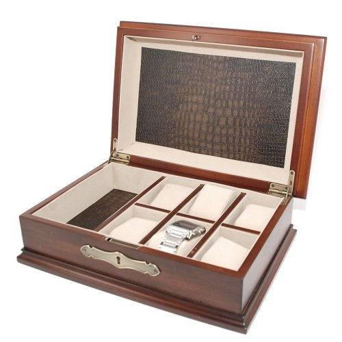 Vintage Watch Box for 6 watches with Compartments Soft Cushions and stroage box with lock and key by decore Bay (Image #1)