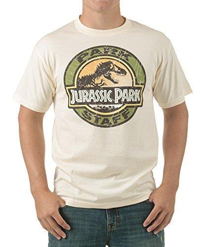 (Jurassic Park Movie Park Staff Logo Adult T-Shirt - Sand)