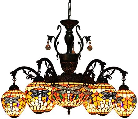 Makenier Vintage Tiffany Style Stained Glass 6 Arms Red Dragonfly Chandelier with 12 Inches Inverted Ceiling Pendant Lamp