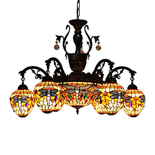 Makenier Vintage Tiffany Style Stained Glass 6 Arms Red Dragonfly Chandelier with 12 Inches Inverted Ceiling Pendant Lamp ()