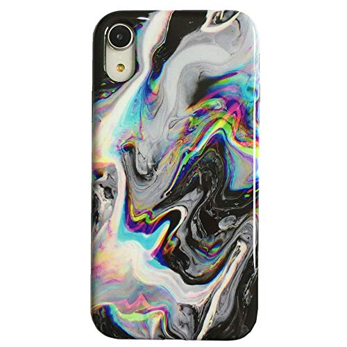 - Protective Case for iPhone XR, Raised Edges Scratch Resistant Lightweight Flexible TPU Glossy Rubber Silicone Phone Cover for iPhone XR - Colorful Abstract Liquid on Black