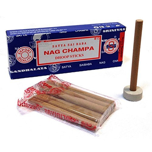 Nag Champa Dhoop Incense Sticks and Holder (3 Boxes (30 Sticks))