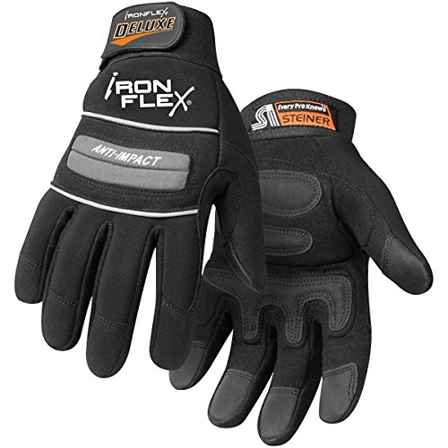 Steiner 0962-S Ironflex Work Gloves, Deluxe Synthetic Leather Black Spandex,