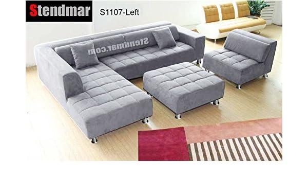 Amazon Com 4pc Modern Grey Microfiber Sectional Sofa Chaise Chair