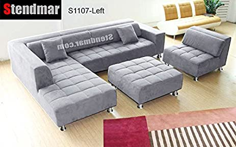 4pc Modern Grey Microfiber Sectional Sofa Chaise Chair Ottoman S1107LG : gray microfiber sectional - Sectionals, Sofas & Couches