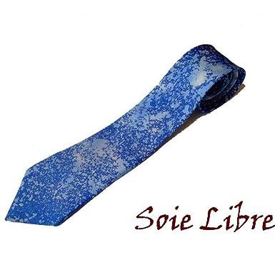 Corbata de seda, pieza única pintada a mano, color azul: Amazon.es ...