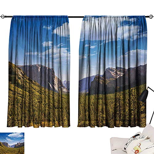 (Anyangeight Grey Curtains Yosemite,Yosemite El Capitan and Half Dome in California National Parks US Summertime View,Green Blue 84