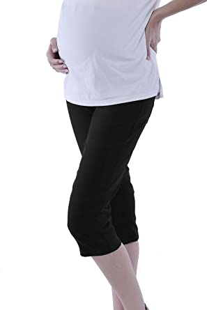6099f42841b6e WuhouPro Womens Super Stretch Adjustable Maternity Pants AZ 1304 Black S