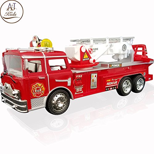 ANJ Kids Toys - Battery Operated Fire Truck Toys for Kids - Bump & Go Rescue Car with Realistic Siren Sounds - Great Fire Engine Toy Car for Girls and - Fire Engine Childrens
