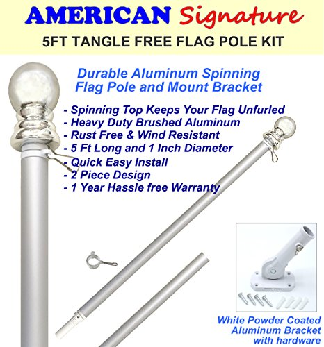 American Signature Flag Pole and Bracket Holder Kit: Includes 5 Ft Heavy Duty Aluminum Tangle Free Spinning Flag Pole and Adjustable Outdoor Wall Mount Bracket (Silver, 5') - Steel House Kits