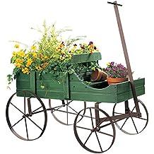 Carreta Amish decorativa, maceta de jardín de atrás de interior y exterior, Estándar, Verde