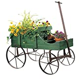 Amish Wagon Decorative Indoor Outdoor Garden Backyard Planter, Green ()