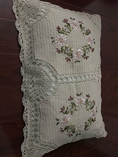 """A & MT Beautiful Crochet Lace Ribbon Embroidered Hand Made Pillow Cover: 20""""X30""""(51cmx76cm)/ Pair: Oblong. Beige"""