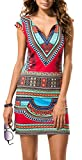 AOVCL Women's Sexy V Neck Tribal Printed Casual Bodycon Dress