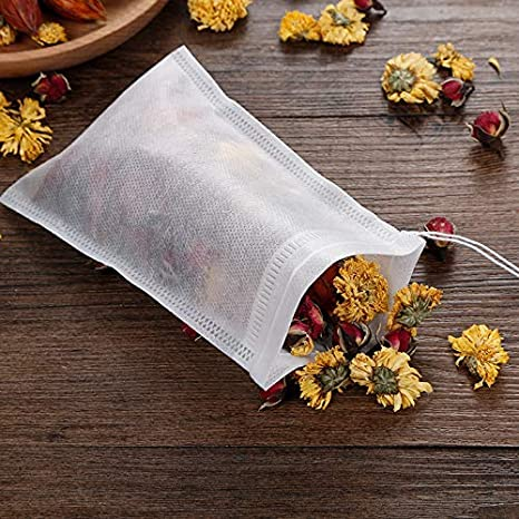 400 Pcs Disposable Tea Filter Bags Empty Cotton Drawstring Seal Filter Tea Bags for Loose Leaf Teal(3.54 x 2.75 inch)