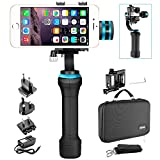 Neewer NWHG-01 3 Axis Brushless Motorized Handheld Gimbal Stabilizer for GoPro Hero 4 3+ and Smartphones Width within 2.2 to 3.6 inches, Such as iPhone 7 7 Plus 6s 6s Plus, SAMSUNG Galaxy S6 S5