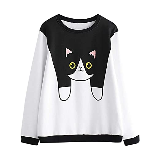 aed41c0f1 Amazon.com: Lmtime Top Sale! Womens Cute Cat Print Sweatshirt Autumn Casual  Pullover Round Neck Plus Velvet Blouse T-Shirts: Clothing