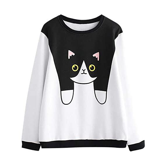 DEELIN Moda De OtoñO E Invierno De La Mujer Simple Casual Cuello Redondo Gato Lindo Cat