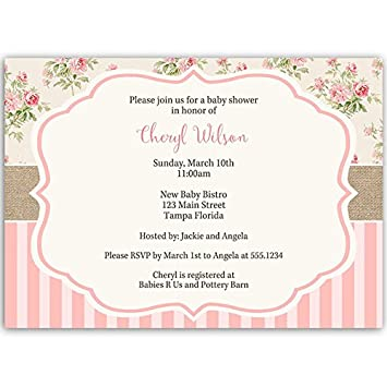 Baby Shower Invitations, Girl, Floral, Pink, Sprinkle, Vintage, Shabby,