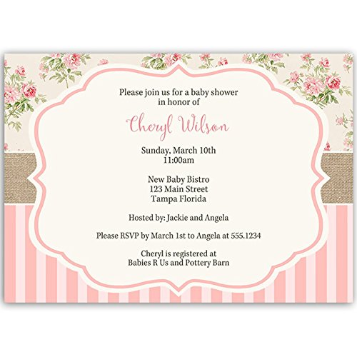 Baby Shower Invitations, Girl, Floral, Pink, Sprinkle, Vintage, Shabby, Chic, Classic, Elegant, It's A Girl, Girls, Stripes, Flowers, Invites, 10 Pack Custom Printed Invites with White Envelopes]()