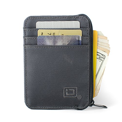 RFID Wallet Nylon Mini - Protective Minimal Wallets for Men and Women - RFID Blocking Wallets Prevent Electronic Pickpocketing. (Gray)