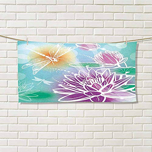 (wwwhsl Essential Running Sweat Towel Dragonfly Silhouette Textured Macro Asian Sacred Lotus Petals with Aquatic Elements Theme Purple Teal Single Side Printing W20xL20 Inch)