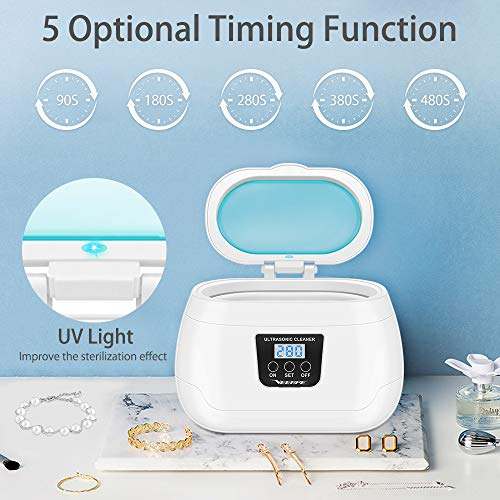 Ultrasonic Jewelry Cleaner, Professional Ultrasonic Cleaner 20 Ounces(600ML) with Digital Timer Ultrasonic Tooth Cleaner for Eyeglasses Watches Coins Tools Razors Earrings Necklaces Dentures Diamond