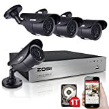 ZOSI 8Channel 720P Video Security System with 1TB Hard Drive and (4) 1.0MP Weatherproof Bullet Cameras with 120ft Night Vision