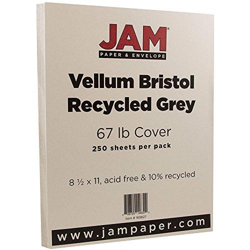 (JAM PAPER Vellum Bristol 67lb Cardstock - 8.5 x 11 Coverstock - Grey - 250 Sheets/Ream)