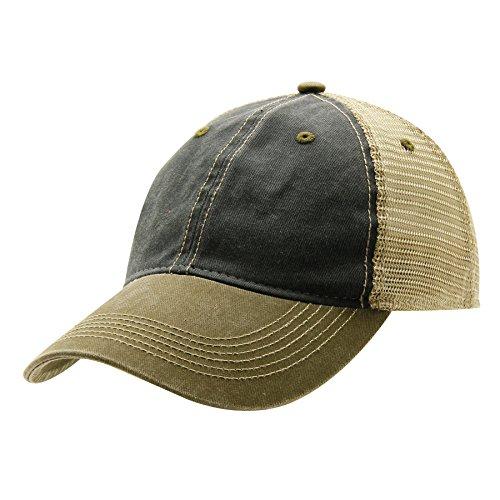 Ouray Sportswear Legend Vintage Wash Trucker Cap, Spruce/Khaki/Bark, Adjustable