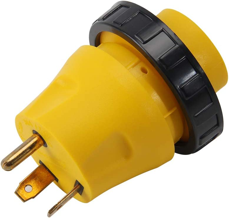 RV Power Cord 15A Male to 30A Female CA 15a Male to 30 Female Locking Generator Cable Adapter Electrical Converter Plug RV Electrical Locking Adapter 125V