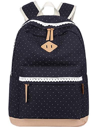 (Mygreen Cute Lightweight Canvas Bookbags School Backpacks for Teen Girls Floral Dot Student Backpack 15 Inch Laptop)