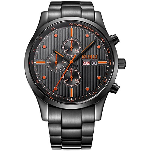 BUREI Men's Multifunction Chronograph Black Stainless Steel Watch with Calendar