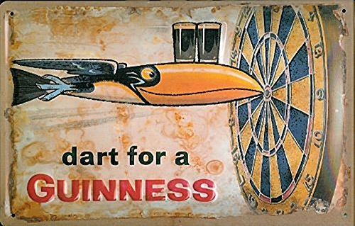 GUINNESS DART 3D Embossed Vintage Tin Metal Pub Sign by Guinness