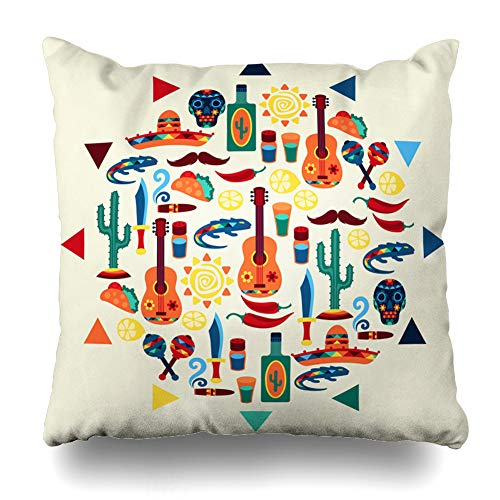 DIYCow Throw Pillows Covers Dagger Ethnic Mexican Sombrero Design Native Style Music Cushion Case Pillowcase Home Sofa Couch Square Size 20 x 20 Inches Pillowslips