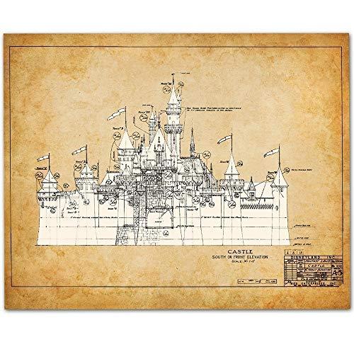 Disneyland Castle - 11x14 Unframed Patent Print - Great Gift for Disney Fan